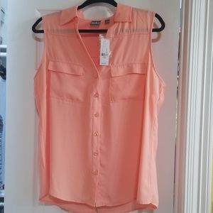 NWT New York Peach Sleeveless Blouse Sz L